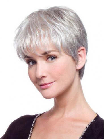 Short Cut Synthetic Straight Front Lace Grey Wig