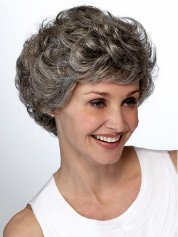 Short Wavy Layers Lace Front Grey Wig
