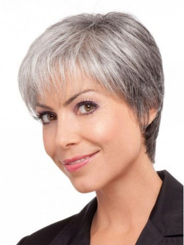 Classical Short Straight Lace Front Grey Wig