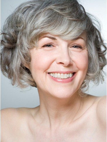 Short Fashion curling Full lace Gray Wig