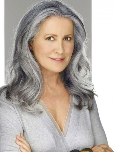 Long Lace Front Sexy Wavy Grey Wig